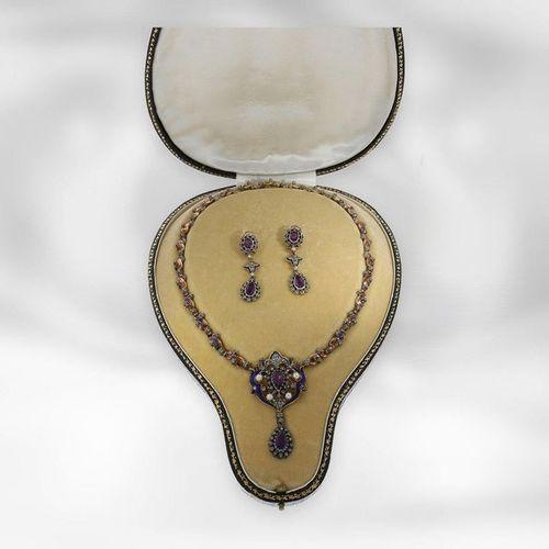 Collier/bangle/boucles d'oreilles : parure ancienne unique, or/émail, améthystes…