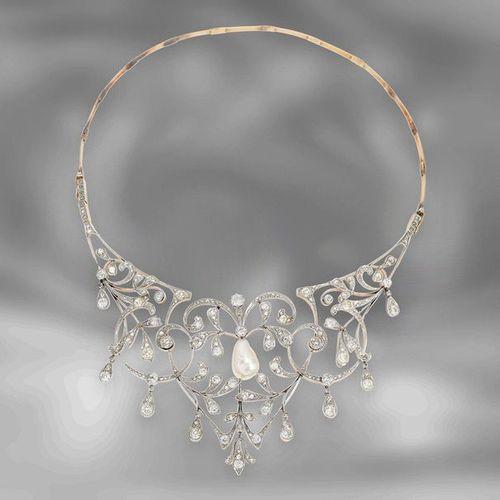 Collier : important collier historique de diamants avec une perle orientale préc…