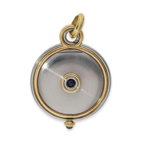 Montre pendentif : belle montre pendentif vintage Cartier en acier/or  Ca. Ø30.5…