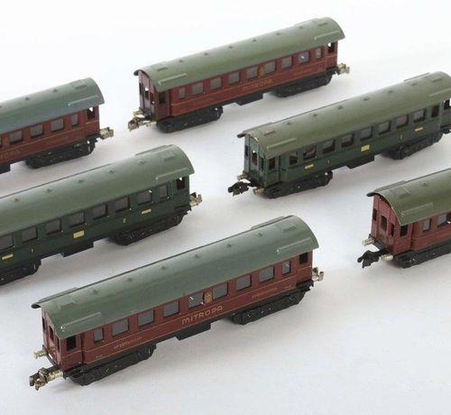 6 voitures de tourisme Märklin, écartement H0, BZ 1935 38, 2 x voitures de touri…