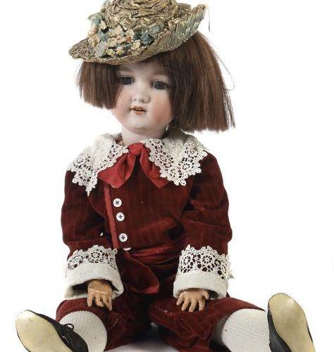 Grande poupée Armand Marseille, vers 1920, tête de manivelle en porcelaine avec …