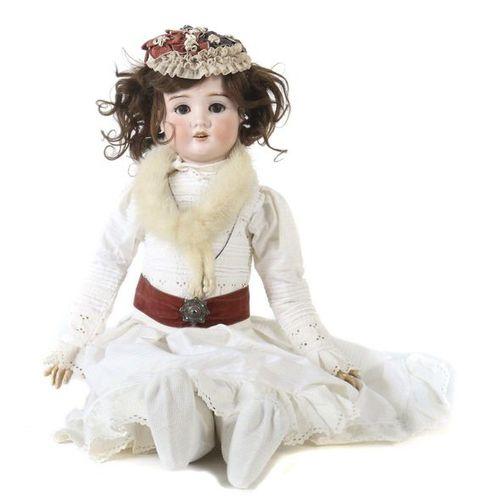 Grande poupée Schoenau & Hofmeister, vers 1910, tête à manivelle en porcelaine, …
