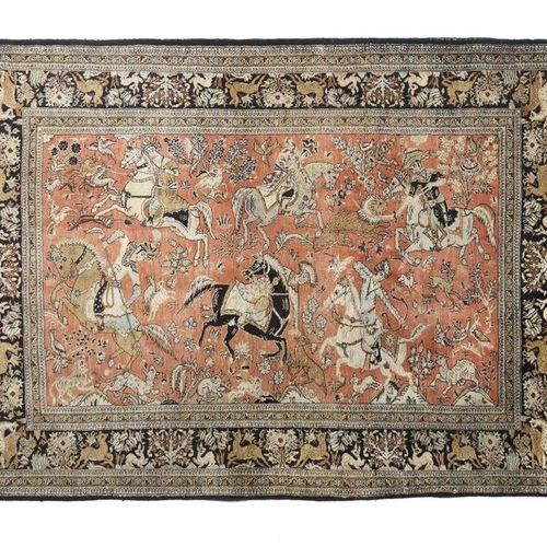 Tapis en soie de Qom avec des scènes de chasse de la Perse centrale, vers 1970, …