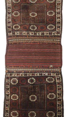 Ancienne Perse Khorjin, laine sur laine, un sac double avec un devant en velours…