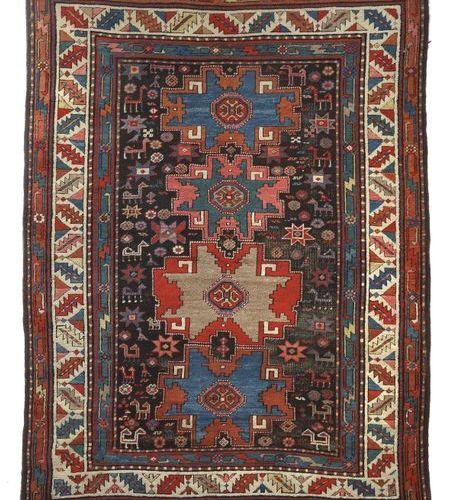 Karabagh avec les étoiles de Lesghi Caucase, vers 1900, laine sur laine, 4 étoil…