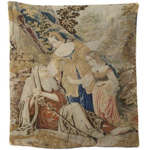 Fragment de broderie Petit Point France, XVIIe siècle, broderie en laine et déta…