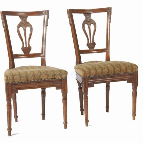 Pair of Louis XVI chairs end of 18th century, beech, round legs and frame with f…