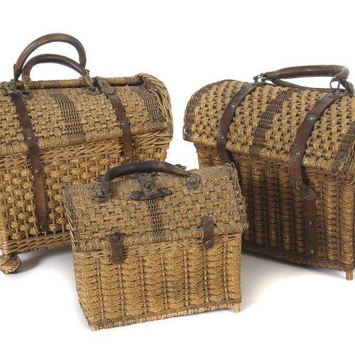 3 paniers artisanaux variés / sacs à corbeilles 19e/20e siècle, paniers de diffé…