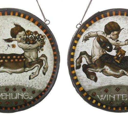 """Deux disques ronds, vers 1900, disques de saison """"printemps"""" et """"hiver"""", verre i…"""