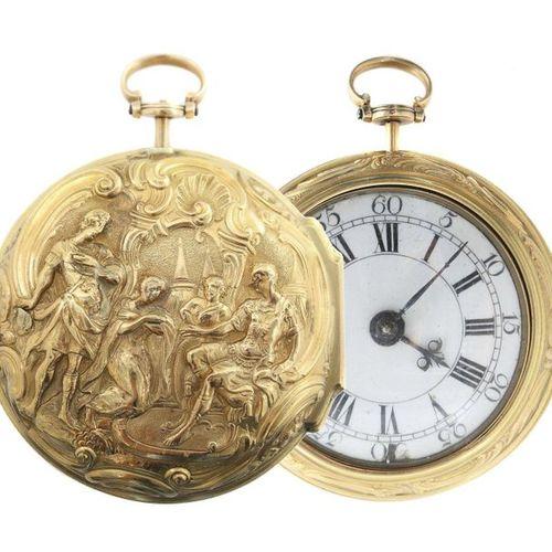 Montre de poche à broche avec double boîtier repoussé Londres, William Chater an…