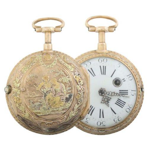 Montre de poche à fuseau d'or avec répétition des quarts d'heure, Paris, Jean Ro…