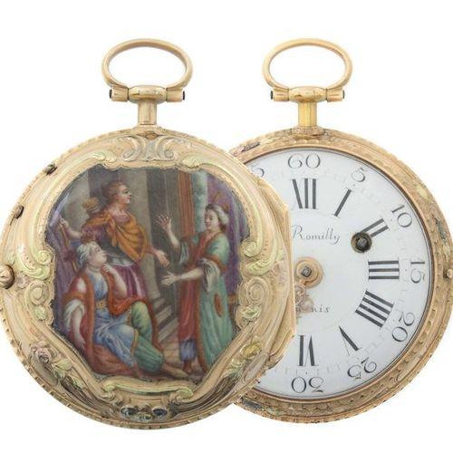 Montre de poche à fuseau avec peinture en émail Paris, Jean Romilly (Genève 1714…