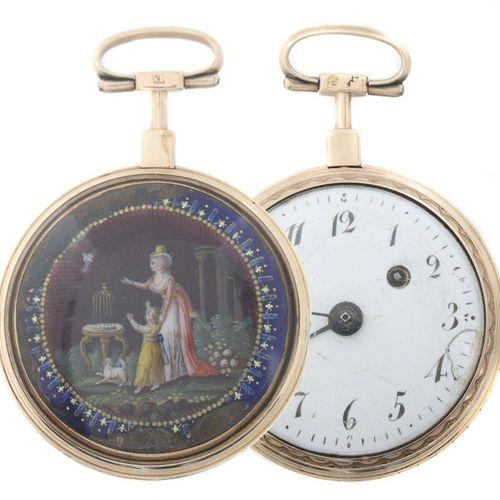 Montre de poche à broche Vienne, vers 1800, or rouge, revers avec fine peinture …
