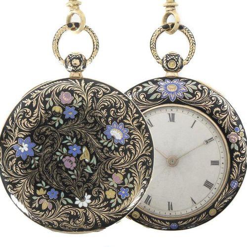 Montre de poche pour dames, milieu du XIXe siècle, Paris, or rose, le boîtier dé…