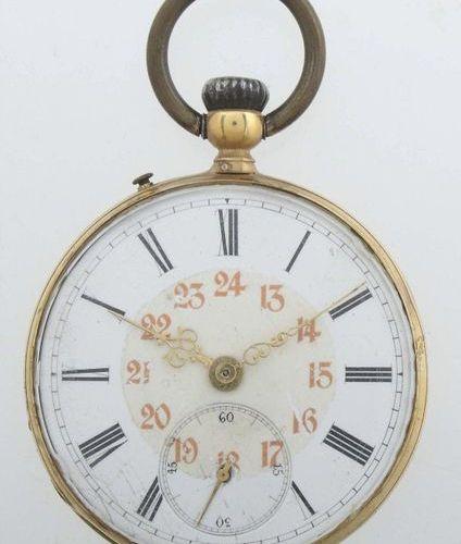 Montre de poche pour homme datant d'environ 1900, or jaune 750, cadran en émail …
