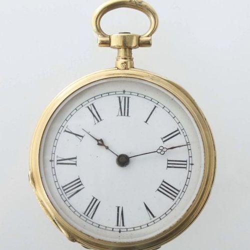 Montre de poche pour dame vers 1900, or jaune 750, cadran en émail blanc avec ch…