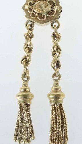 Collier du XIXe siècle à pendentif, or jaune 585, grande coulisse à décor appliq…