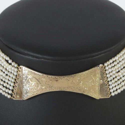Choker with extraordinary clasp, around 1860/70, rose gold 585, 9 row necklace w…