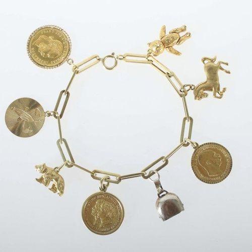 Bracelet de mendiant des années 1970, or jaune 333/585/750 ainsi que plaqué arge…