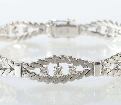 Bracelet moderne, or blanc 750, 2 bandes reliées à 6 barres, les 7 sections résu…
