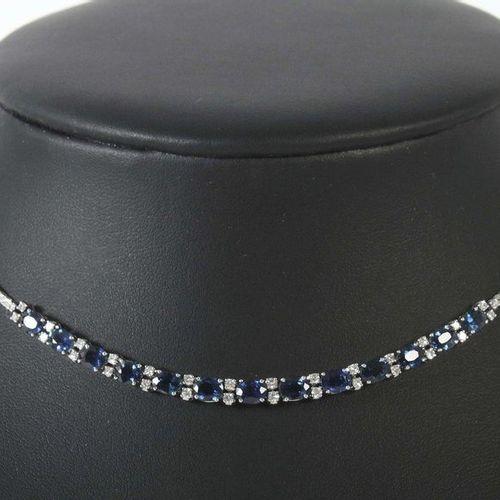 Collier saphir diamant moderne, or blanc 750, la pièce centrale est mobile, sert…