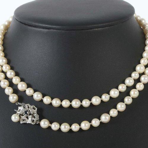 Collier de perles 1970/80ies, perles de culture nouées (d : ca. 0,6/0,75 cm), av…