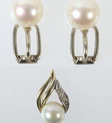 Clips d'oreilles et pendentif Moderne, or jaune/blanc 585, serti de perles (d : …