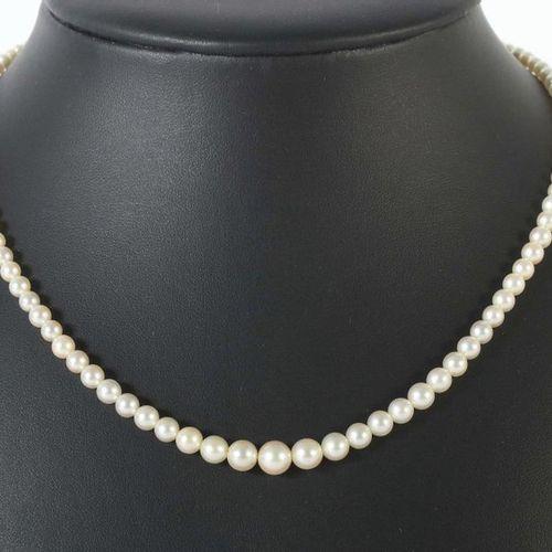 Collier de perles du XXe siècle, perles enfilées en cours (d : 0,3/0,7 cm), avec…