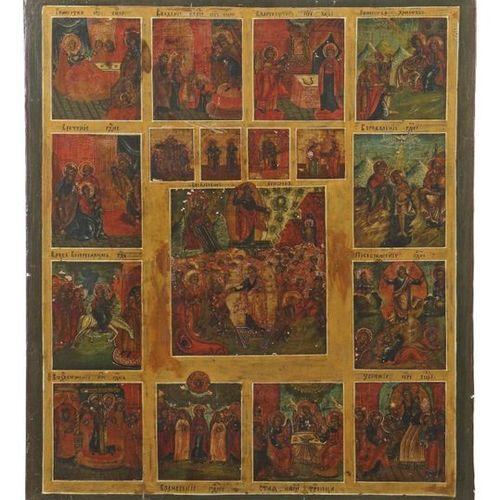 Icône festive de la Russie, 18e/19e siècle, icône à plusieurs champs, au centre …