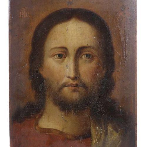 Icône ''Jésus Christ'' Russie, 19e/20e siècle, portrait du Fils de Dieu en robe …
