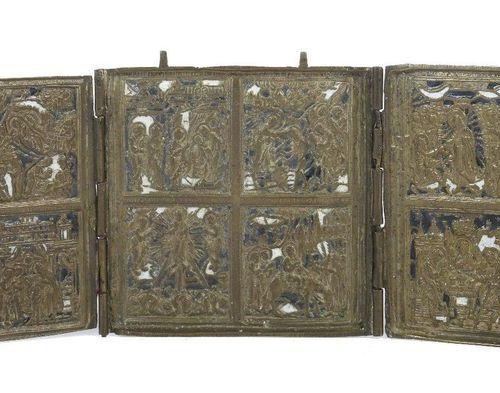 Icône de voyage sous forme de triptyque Russie, 19e siècle, trois ailes d'autel …