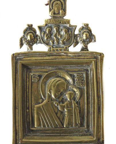 Icône de la Mère de Dieu de la Russie de Kazan, représentation du 18e/19e siècle…