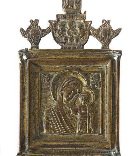 Icône de la Mère de Dieu de la Russie de Kazan, 19e siècle, représentation de la…