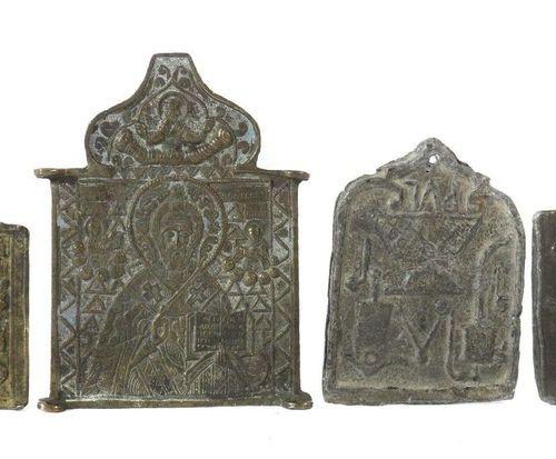 Ensemble d'icônes en métal Russie et Égypte ( ?), 19e siècle, 4 pièces, ''Saint …