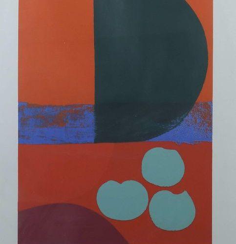 Graphiste du XXe siècle ''composition abstraite'', représentation en rouge, vert…