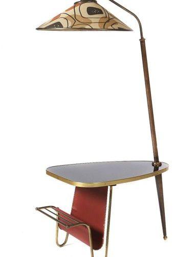 Table de rein avec lampe et porte journaux Wohl Italy, 1950/60s, plateau de form…