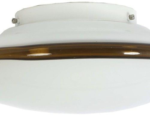 Ceiling lamp Murano, Italy, 1970s, round opal glass body with fused amber ring, …