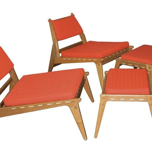 Kristiansson, Uno & Östen Pair ''Hunting Chairs'' with ottomans, Sweden, 1960s, …