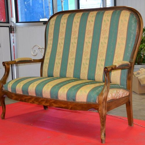 ANONYME Small two seater fruitwood Voltaire style sofa with straight back and ro…
