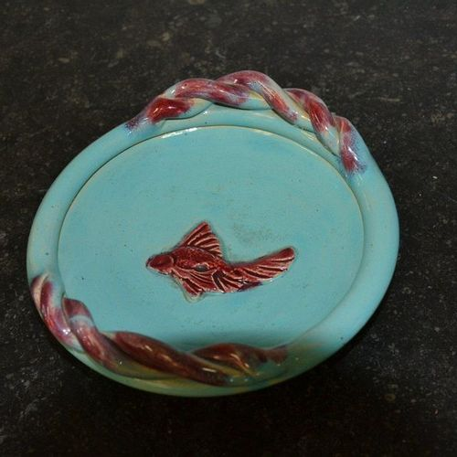 Guérin à Lunéville Blue ceramic bowl with a goldfish decoration. Signed on the b…
