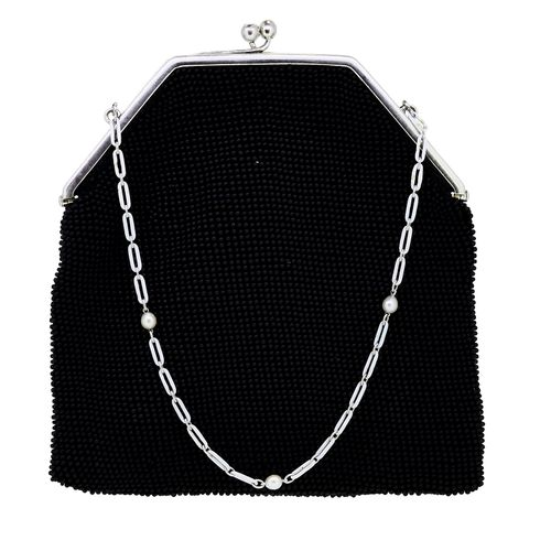 CARTIER, IMPORTANT ENAMEL, PEARL AND DIAMOND SET EVENING BAG. The bag set with b…