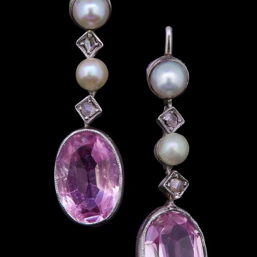 A PAIR OF PINK TOURMALINE AND PEARL EARRINGS, each earring comprising two collet…