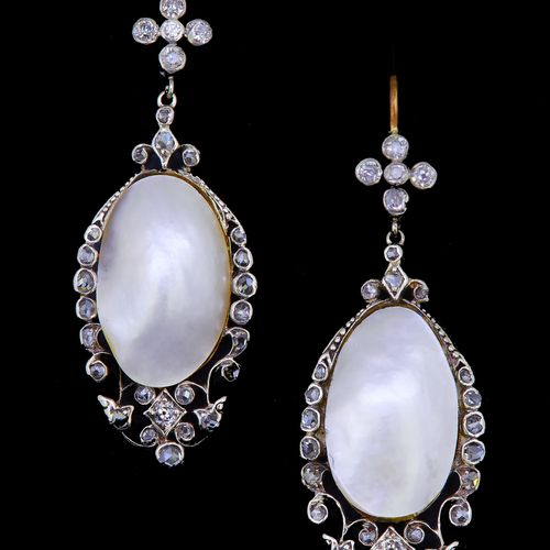 ANTIQUE PAIR OF PEARL AND DIAMOND DROP EARRINGS, the diamond set top suspending …
