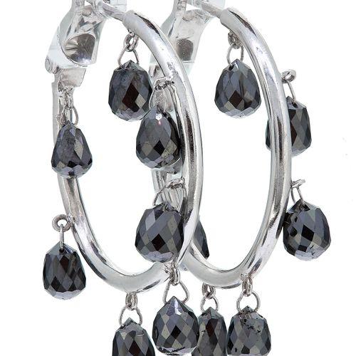 PAIR OF BLACK DIAMOND HOOP EARRINGS, each set with 7 briolet cut black diamon dr…