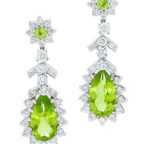 PAIR OF PERIDOT AND DIAMOND DROP EARRINGS, the top set withy a peridot center su…