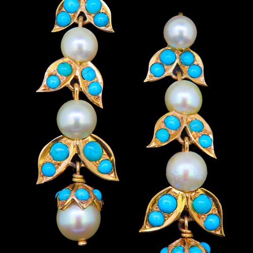 PAIR OF TURQUOISE AND PEARL DROP EARRINGS, of stylized leaf design, the 3 links …