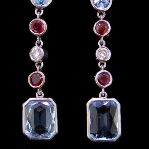 PAIR OF AQUAMARINE, RUBY AND DIAMOND DROP EARRINGS, set with a top and bottom dr…
