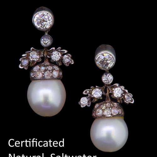 PAIR OF CERTIFICATED NATURAL SALTWATER PEARL AND DIAMOND DROP EARRINGS, designed…