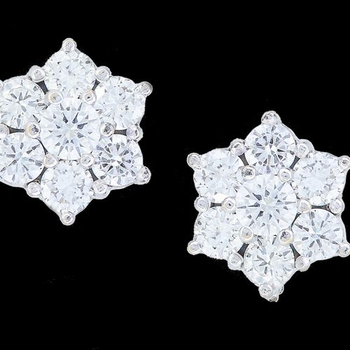 PAIR OF DIAMOND CLUSTER EARRINGS, set with diamonds totalling approx. 1.16 ct. L…