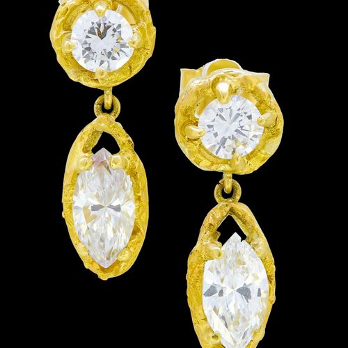 PAIR OF DIAMOND DROP EARRINGS, set with a top round diamonds, with a marquise cu…